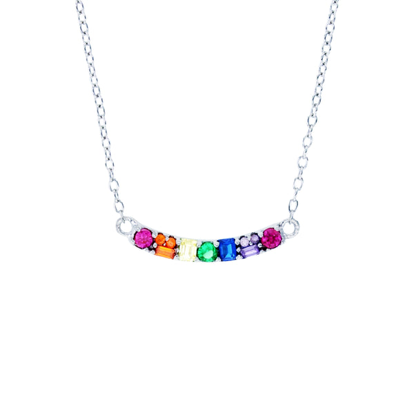 Multicolor Smile Necklace (Silver)