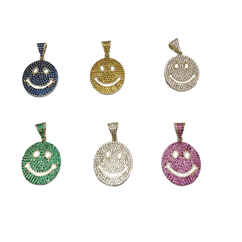 Iced-Out Smiley Pendant (14K)