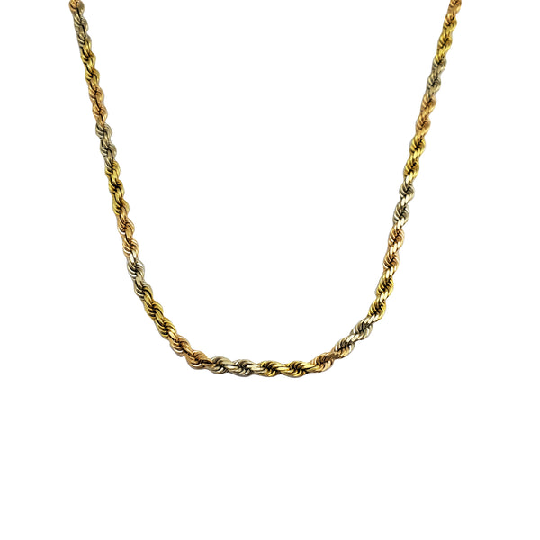 Tricolor Solid Rope Chain (14K)