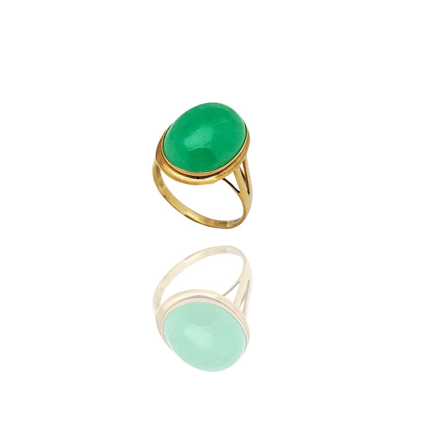 Solitaire Jade Ring (14K)