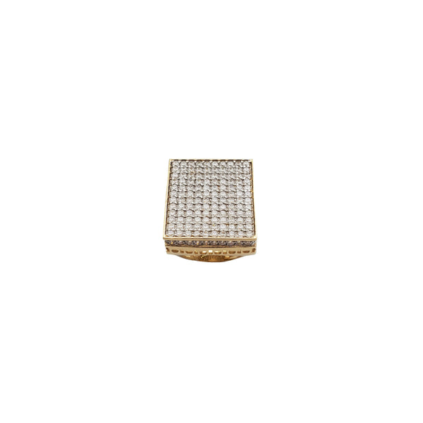 Iced-Out Square Man Ring (14K)