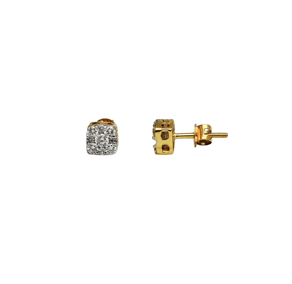 Diamond Square Stud Earring (14K)