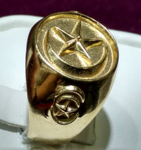 Star and Crescent Men's Ring 14K - Popular Jewelry