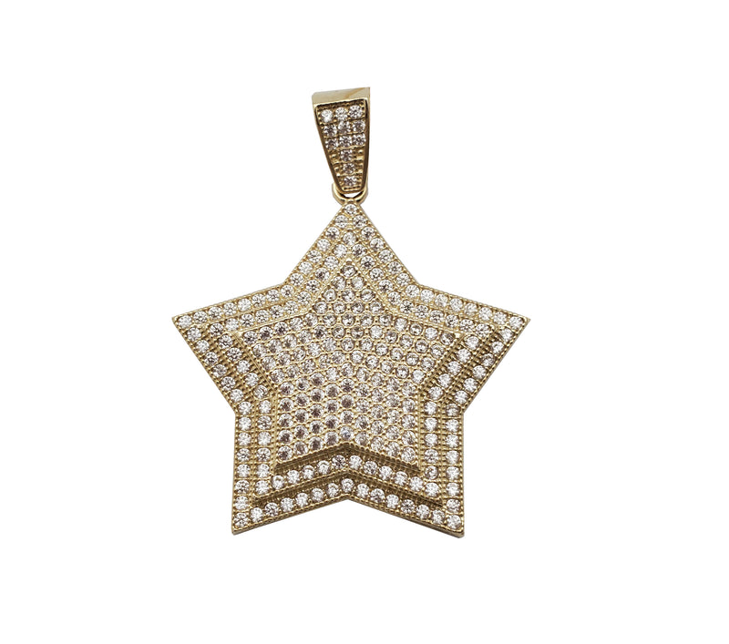 Iced-Out Multi-Layer Star Pendant (10K)