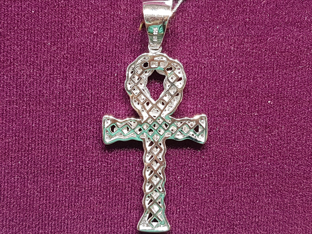 Iced-Put Cuban Link Ankh Pendant Silver (Rear, White) - Popular Jewelry