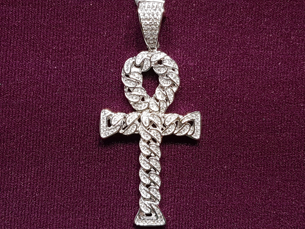 Iced-Put Cuban Link Ankh Pendant Silver (White) - Popular Jewelry