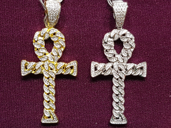 Iced-Put Cuban Link Ankh Pendant Silver - Popular Jewelry