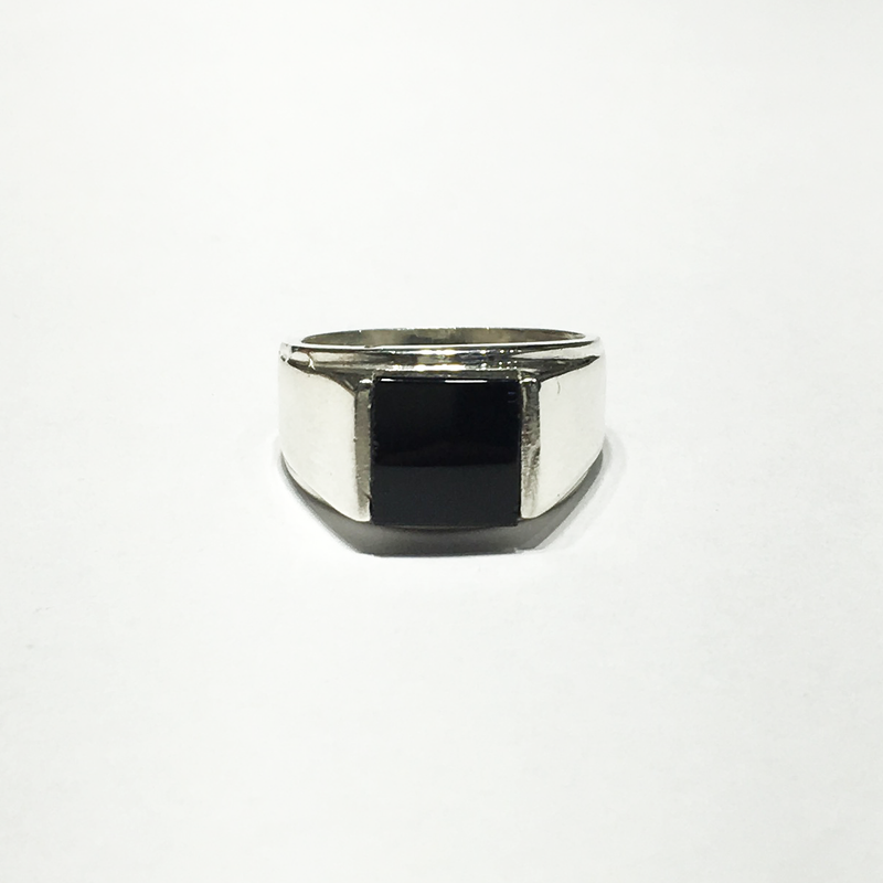 Square Black Onyx Silver Ring