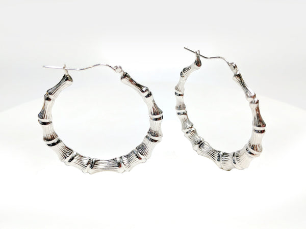Bamboo Style Hoop Earrings Sterling Silver