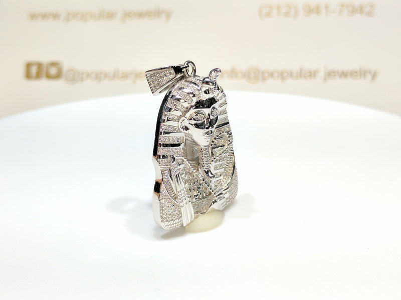 Iced Out Pharaoh Pendant Silver - Popular Jewelry