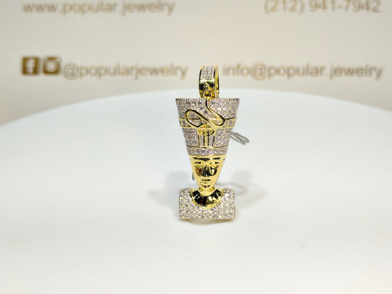 Iced-Out Nefertiti Pendant Silver - Popular Jewelry