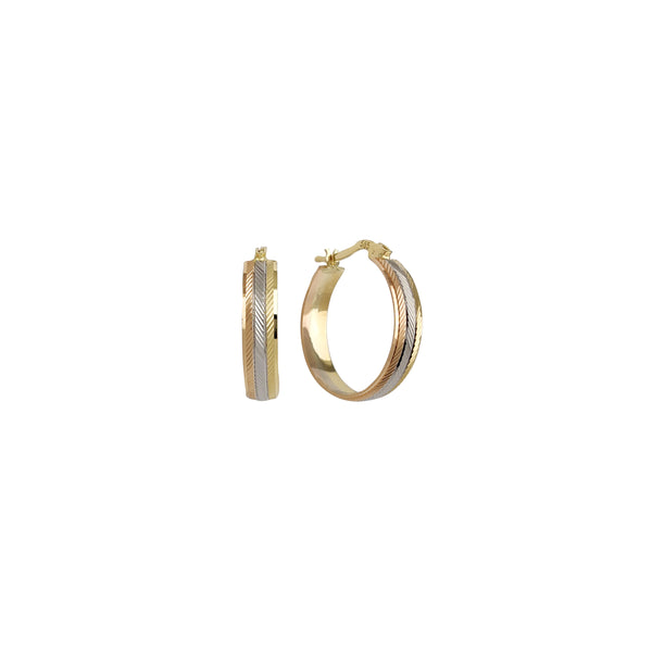 Tricolor Straight-Line Diamond Cut Hoop Earrings (14K)