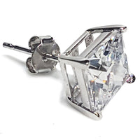Princess-Cut Cubic Zirconia Stud Silver (Pair)