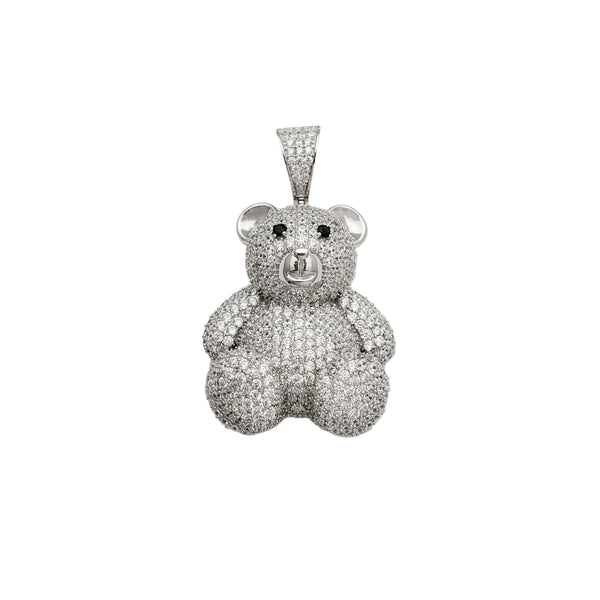 Iced-Out Teddy Bear Pendant (Silver)