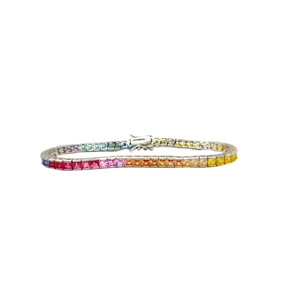 Multicolor Rainbow Tennis Bracelet Silver