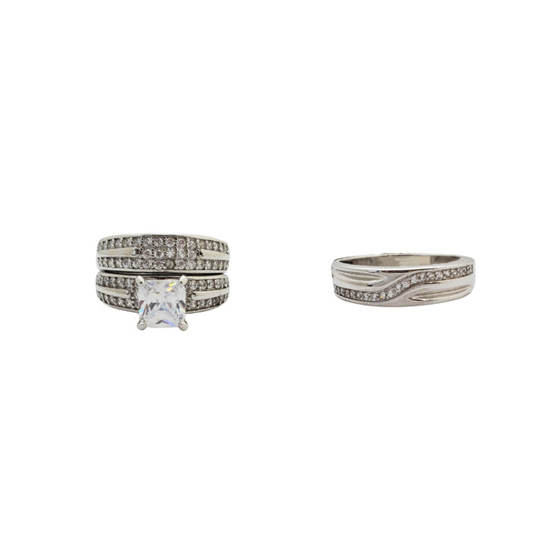 Three Piece Set Engagement Rings (Silver)