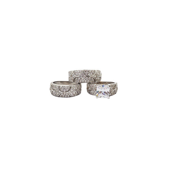 Three Piece Princess Cut Engagement Ring (14K)