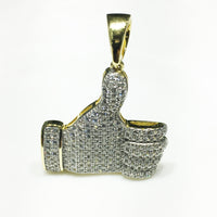 Iced-Out Tankou Siy Pendant Silver Thumb (De-ton) - Popular Jewelry