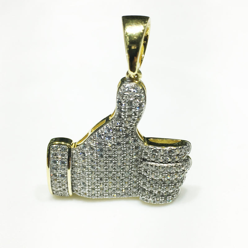 Iced-Out Like Sign Pendant Silver Thumb (Two-Tone) - Popular Jewelry