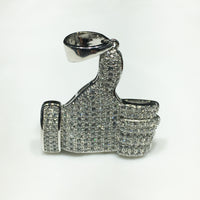Iced-Out Like Sign Pendant Silver Thumb (Blan) - Popular Jewelry