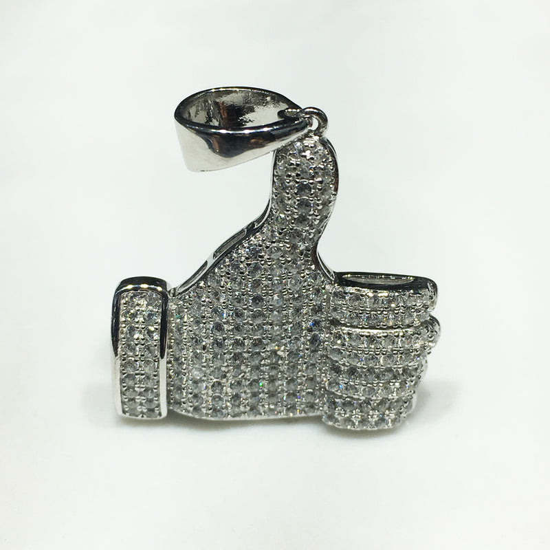 Iced-Out Like Sign Pendant Silver Thumb (White) - Popular Jewelry
