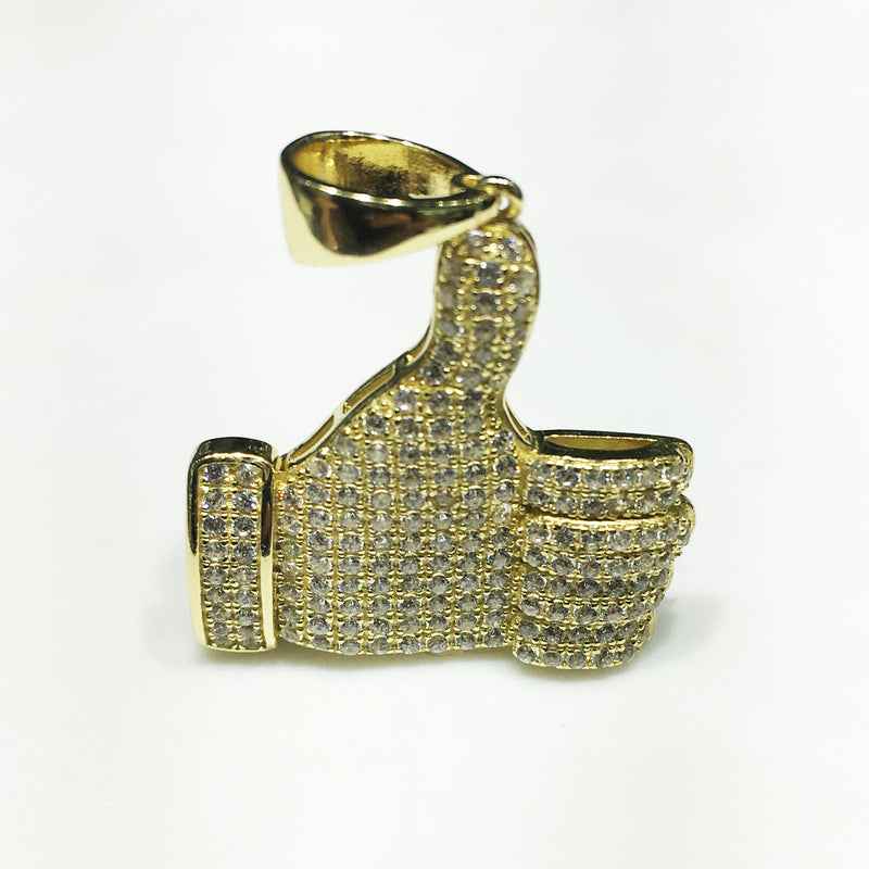 Iced-Out Like Sign Pendant Silver Thumb (Yellow) - Popular Jewelry