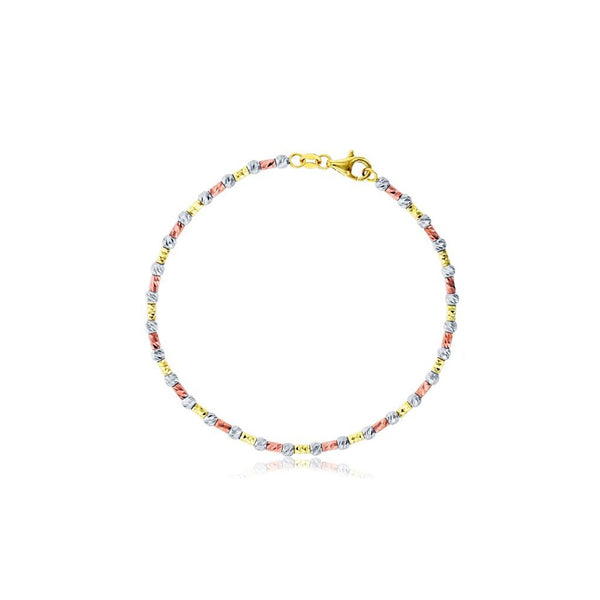Tricolor Diamond Cut Ball & Bar Bead Bracelet (14K)