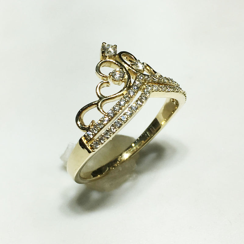 Diamond Princess Crown Ring 14K - Popular Jewelry