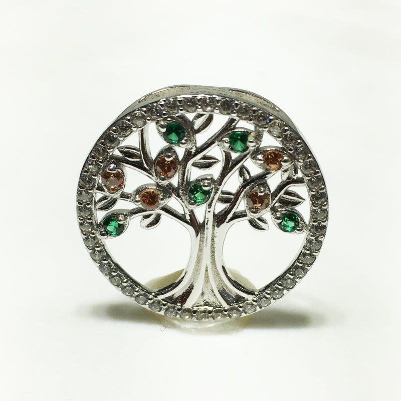 products/tree_of_life_pendant_circular_sterling_silver_synthetic_gemstone_colors_cubic_zirconia_front.JPG