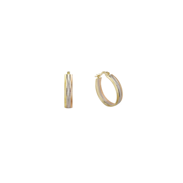 Tricolor Hoop Earrings (14K)