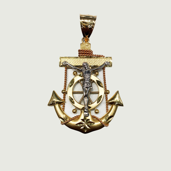 Tri-Color Crucifix Anchor Pendant (14K)