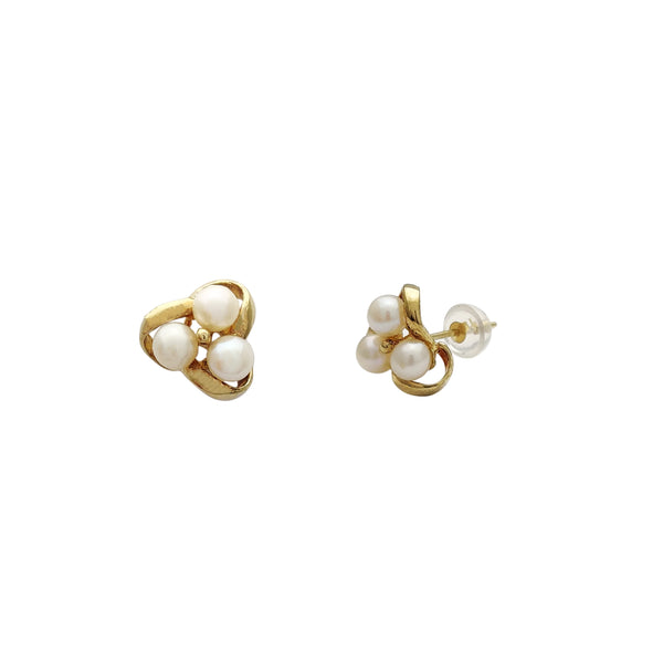 Triple Pearl Earrings (14K)
