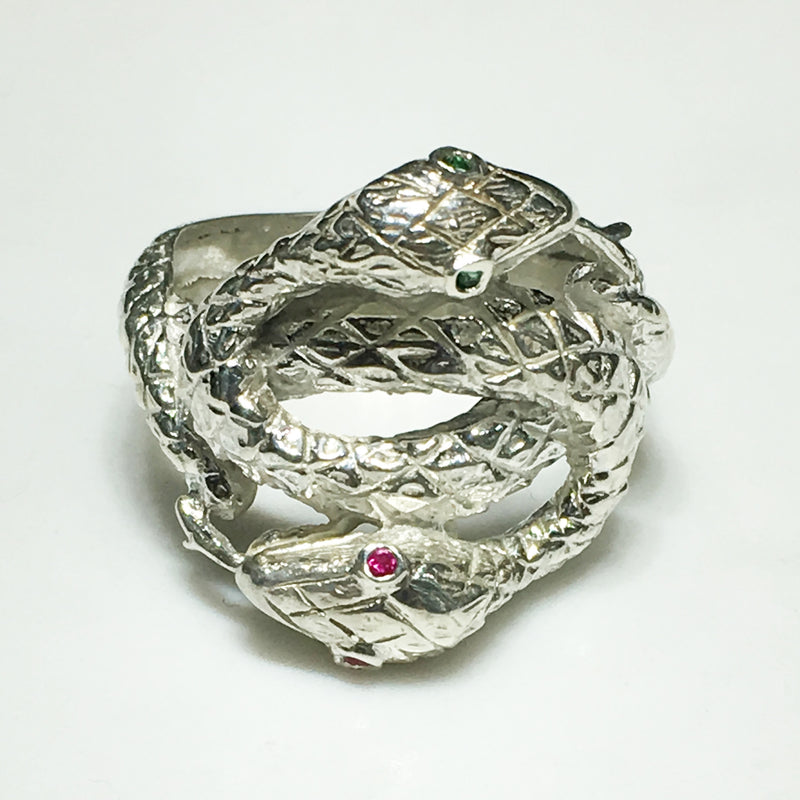 Twin Snake Head Ring (Silver) - Popular Jewelry