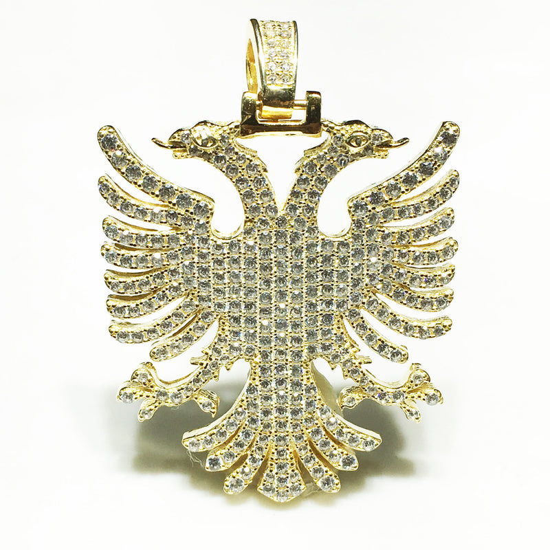Iced-Out Two-Headed Eagle Pendant (Silver) - Popular Jewelry