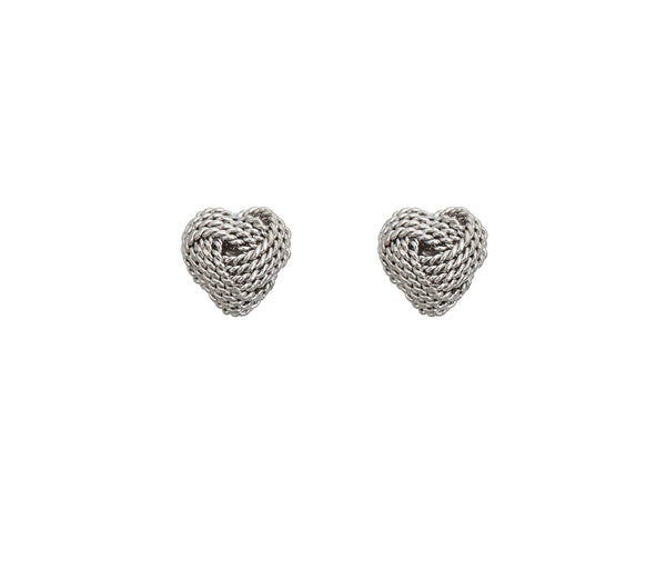 Love Knot Heart Stud Earrings (14K)