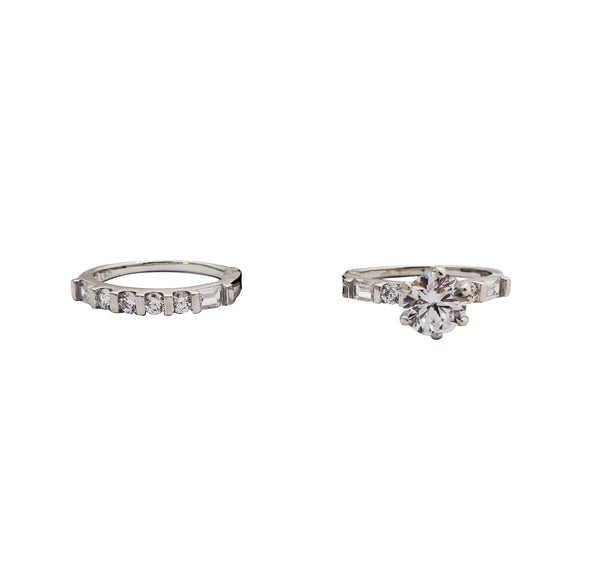 Two Piece Set Engagement Rings (Silver)