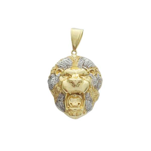 Two-Tone Lion Head Pendant (14K)