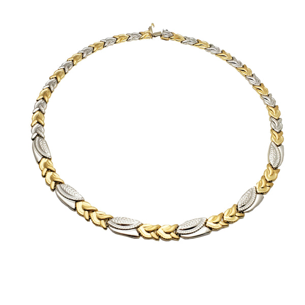 Two-Tone Braided Leaves Necklace (14K)