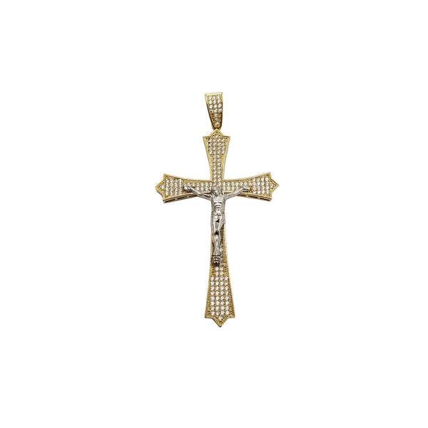 Iced-Out Two Tone Crucifix Pendant (14K)