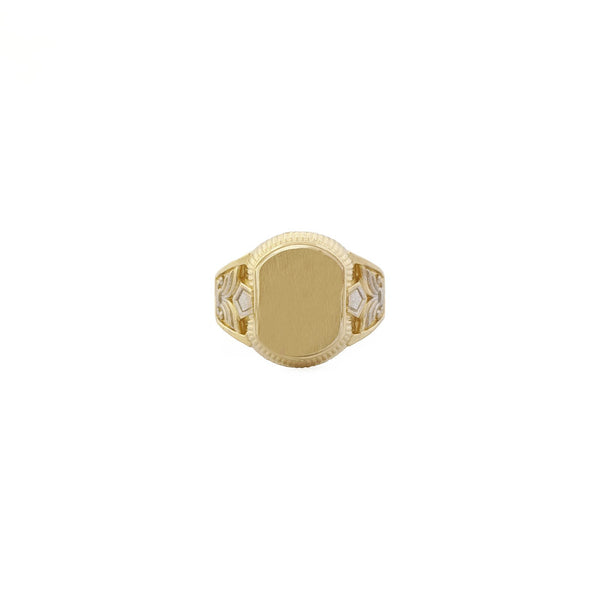Two Tone Oval Signet Ring (14K)