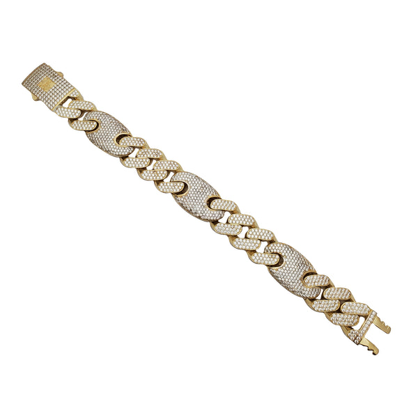 Ultra-Light Iced-Out Figaro Bracelet (14K)