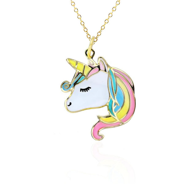 Arabesque Enamel Unicorn Necklace (14K)