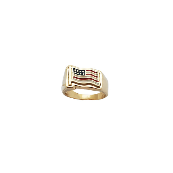 USA Flag Yellow Gold Ring (14K)