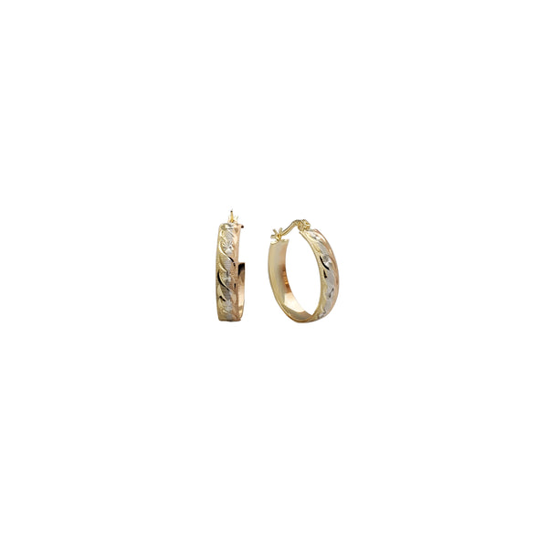 Tricolor Diamond-Cut Hoop Earring (14K)
