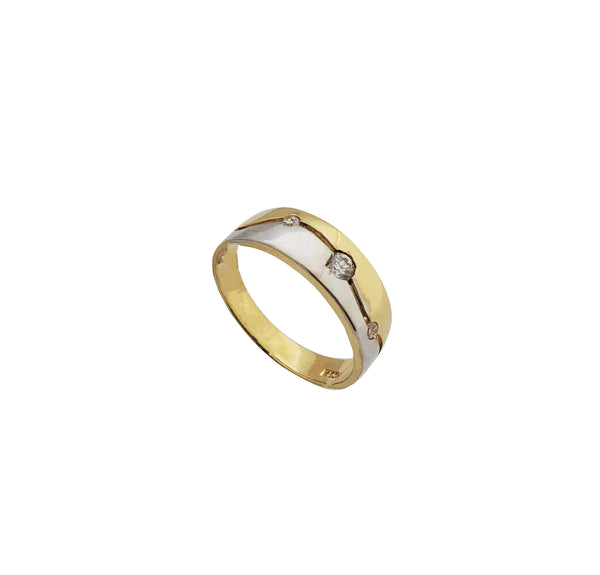Two Tone Wedding Band (14K)
