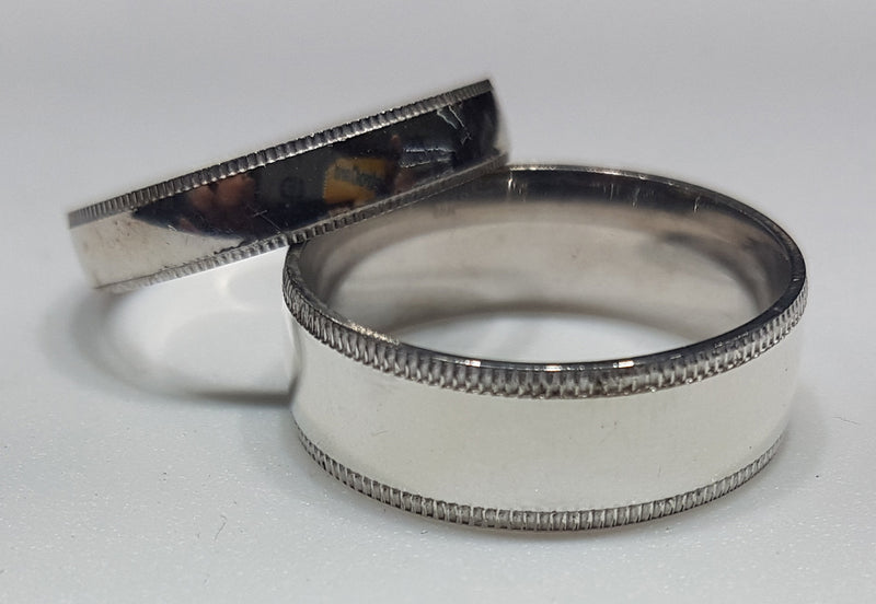 Wedding Band Silver (Etched Edge) - Popular Jewelry
