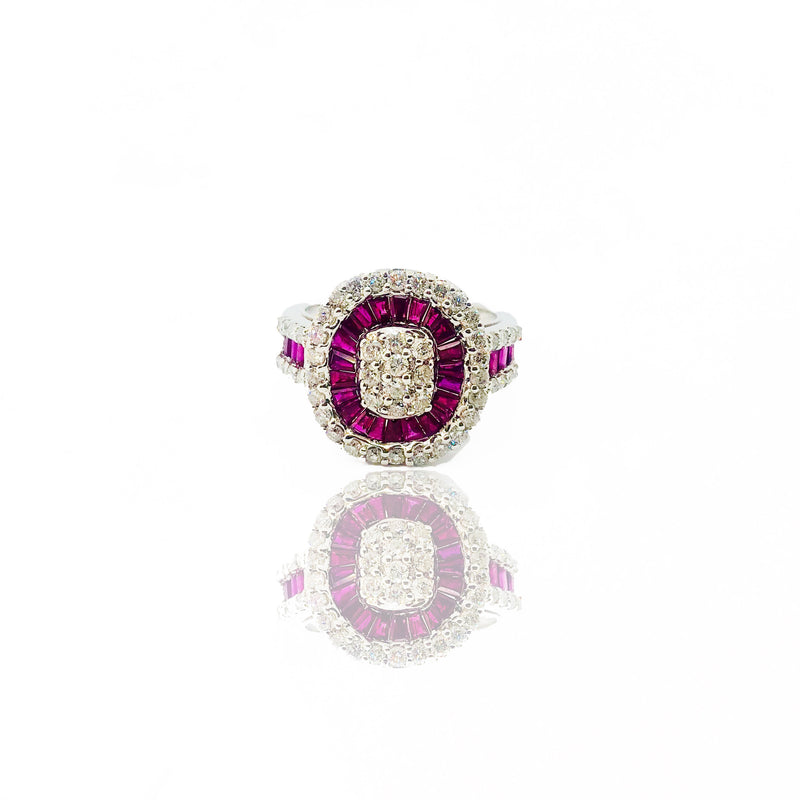 Diamond Ruby Lady baguette Ring white gold (14K).