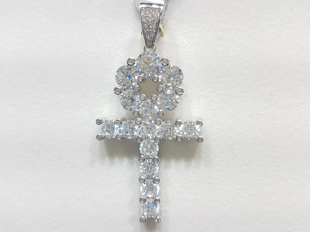 Large sterling silver ankh set with cubic zirconia in direct view - Popular Jewelry