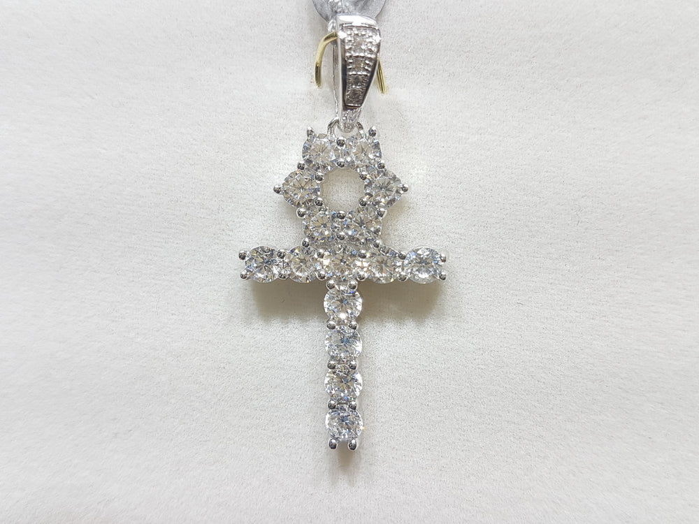 Small sterling silver ankh set with cubic zirconia in direct view - Popular Jewelry