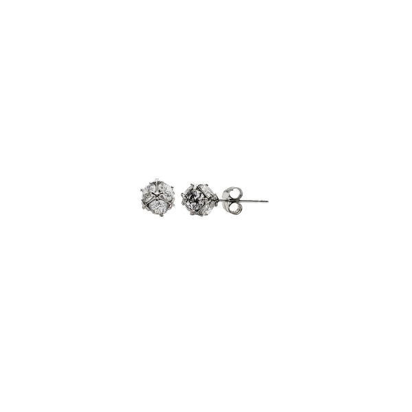 White Gold Dainty Round Ball CZ Stud Earrings (14K)